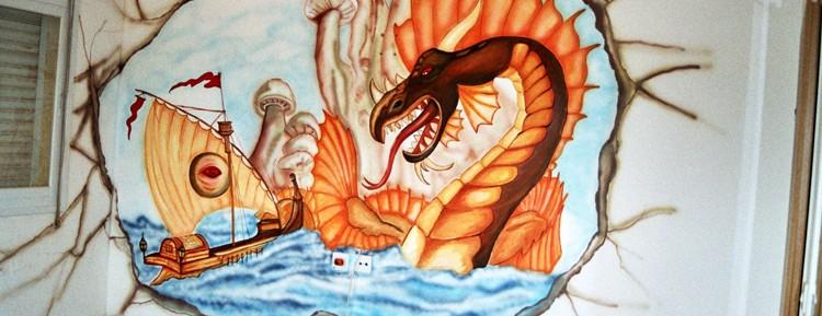 ציור קיר של דרקון בפעולה