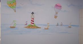 ציורי קיר של ים, שמים ונוף פתוח